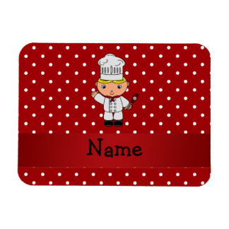 Personalized name chef red white polka dots vinyl magnets
