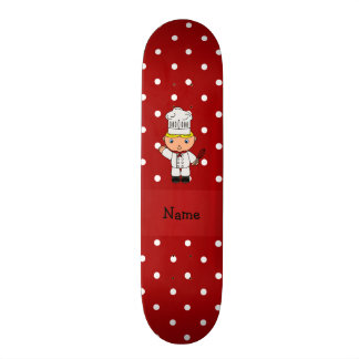Personalized name chef red white polka dots skateboard