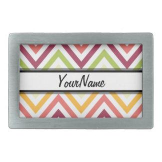 Personalized Name Chevron Pattern Background Rectangular Belt Buckle