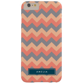 Personalized Name Chic Chevron Grey and Peach Barely There iPhone 6 Plus Case