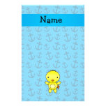 Personalized name chicken blue anchors pattern stationery design