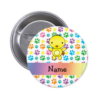 Personalized name chicken rainbow paws button