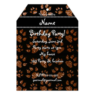 Personalized name chocolate brown glitter cat paws 5x7 paper invitation card