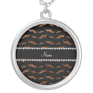 Personalized name chocolate brown glitter mustache necklace