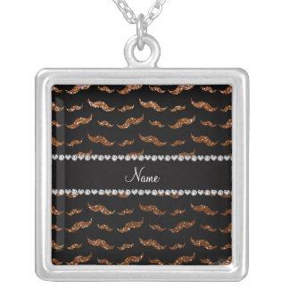 Personalized name chocolate brown glitter mustache pendants