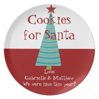 Personalized Name Christmas Santa Cookie Plates