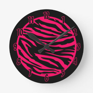 Personalized Name Clock Hot Pink Black Zebra Print