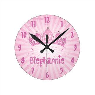 Personalized Name Clock Pink Princess Crown Tiara