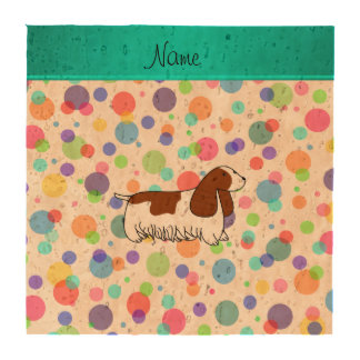 Personalized name cocker spaniel rainbow polka dot drink coasters