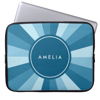 Personalized Name Color Wheel Shades of Blue Laptop Sleeve