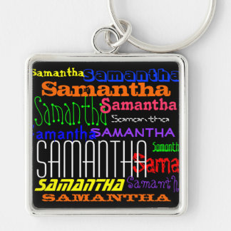 Personalized Name Colorful Collage Keychain