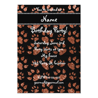 Personalized name copper glitter cat paws 5x7 paper invitation card