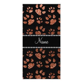 Personalized name copper glitter cat paws photo cards