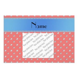 Personalized name coral pink diamonds blue stripe photo print