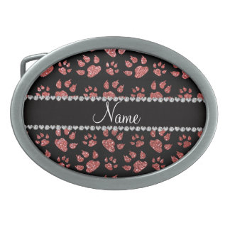 Personalized name coral pink glitter cat paws belt buckles