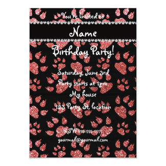 Personalized name coral pink glitter cat paws 5x7 paper invitation card