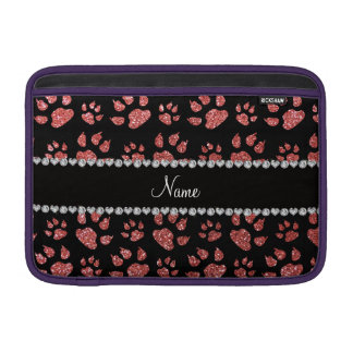 Personalized name coral pink glitter cat paws MacBook air sleeve