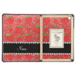Personalized name coral pink glitter strawberry case for iPad air