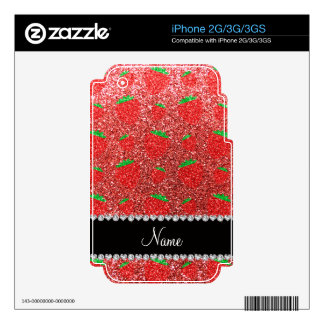 Personalized name coral pink glitter strawberry decals for iPhone 2G