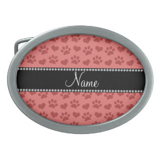 Personalized name coral pink hearts and paw prints oval belt buckles
