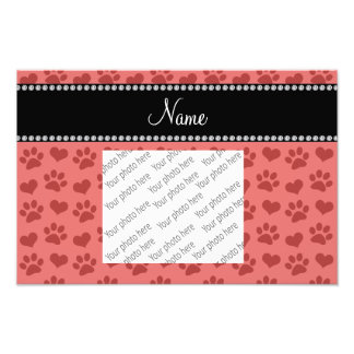 Personalized name coral pink hearts and paw prints photo print