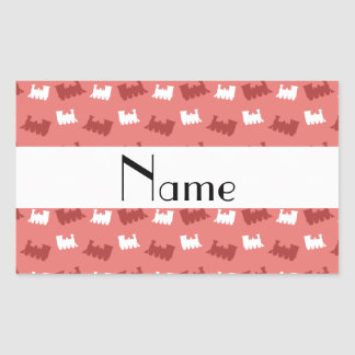 Personalized name coral pink train pattern sticker
