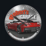 "Personalized Name Corvette Garage Clock<br><div class=""desc"">Personalized Name Corvette Garage Clock</div>"