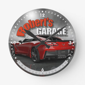 Personalized Name Corvette Garage Clock