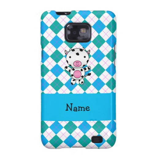 Personalized name cow blue green argyle samsung galaxy SII cover