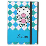 Personalized name cow blue green argyle iPad cases
