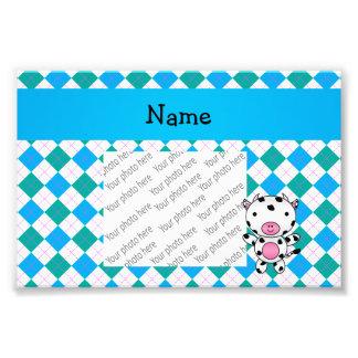 Personalized name cow blue green argyle photo print