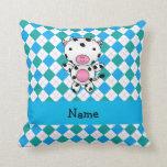 Personalized name cow blue green argyle throw pillow