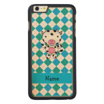 Personalized name cow blue green argyle carved® maple iPhone 6 plus case