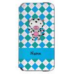 Personalized name cow blue green argyle incipio watson™ iPhone 6 wallet case