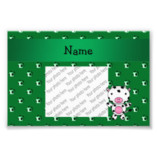 Personalized name cow green soccer balls photo print
