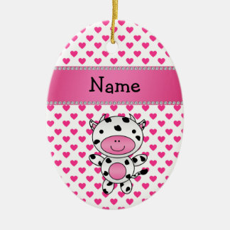 Personalized name cow pink hearts polka dots ceramic ornament
