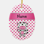 Personalized name cow pink hearts polka dots Double-Sided oval ceramic christmas ornament