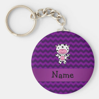 Personalized name cow purple chevrons basic round button keychain