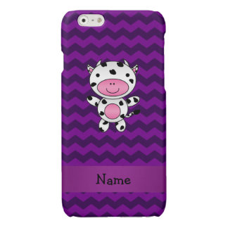 Personalized name cow purple chevrons glossy iPhone 6 case