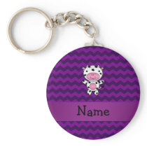 Personalized name cow purple chevrons keychain