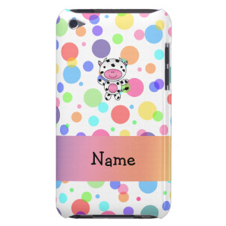 Personalized name cow rainbow polka dots iPod touch case