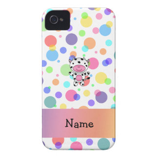 Personalized name cow rainbow polka dots iPhone 4 Case-Mate cases