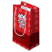 Personalized name cow red christmas trees small gift bag