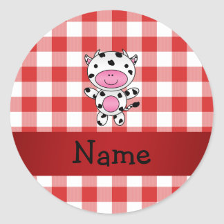 Personalized name cow red picnic checkers classic round sticker