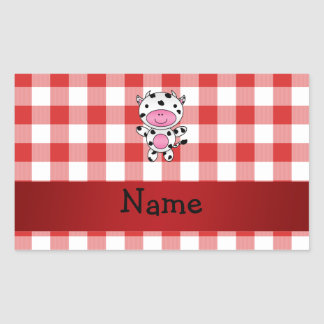 Personalized name cow red picnic checkers rectangular sticker