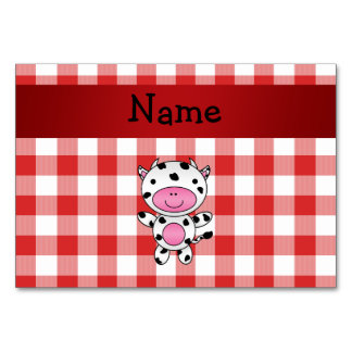 Personalized name cow red picnic checkers table cards