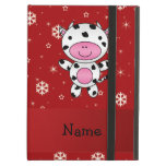 Personalized name cow red snowflakes iPad covers