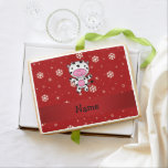 Personalized name cow red snowflakes jumbo cookie