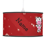 Personalized name cow red snowflakes lamp