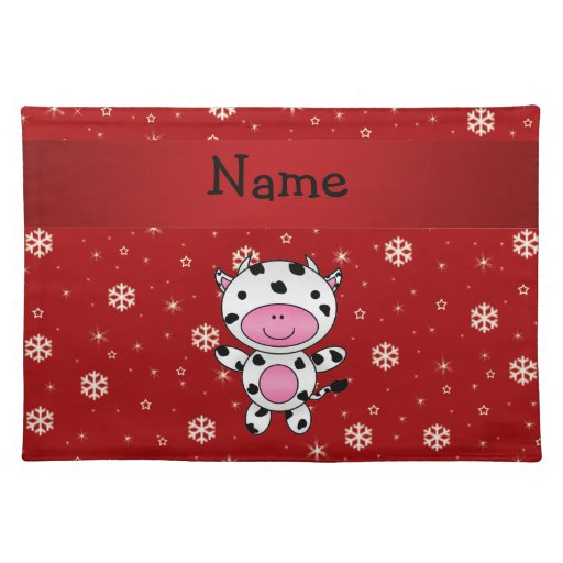 Personalized name cow red snowflakes place mats